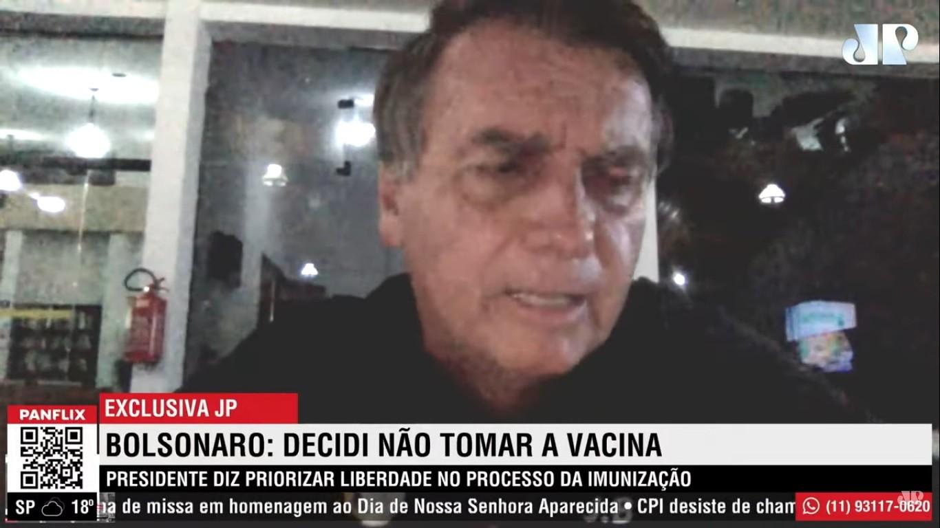 Jair Bolsonaro afirma que não irá tomar a vacina contra a Covid-19; confira o vídeo